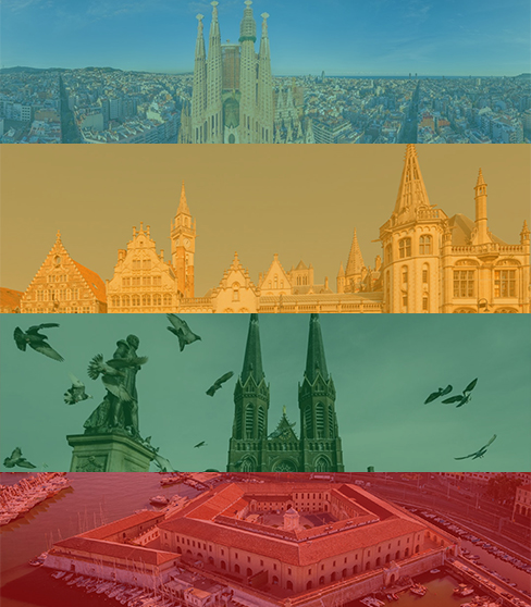 Composite photo of the four cities